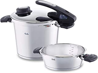 Fissler, Set of Pressure cookers vitavit Edition with Closure Seal, 2 pcs, 22 cm, 2.5 to 6 L, Stainless Steel (Edelstahl)