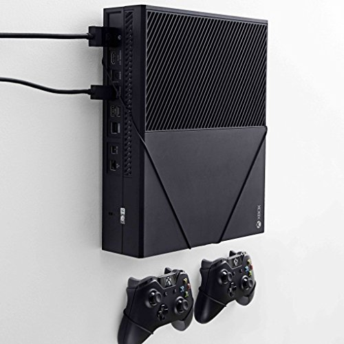 FLOATING GRIP® Wall Mounts for 1x XBOX One (Original) + 2x XBOX Controllers + 1x charger. Color: BLACK. Storage XBOX on the wall right next to your TV. Produced in Europe since 2014.