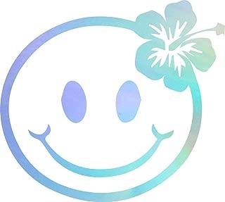 USC DECALS Smiley Face Hibiscus Flower (Hologram) (Set of 2) Premium Waterproof Vinyl Decal Stickers for Laptop Phone Accessory Helmet Car Window Bumper Mug Tuber Cup Door Wall Decoration