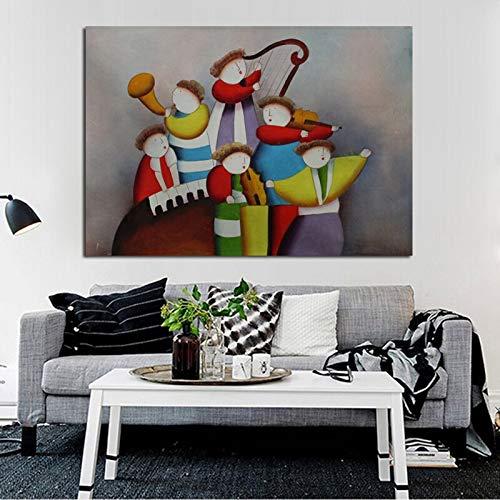 wZUN Arte de Moda Banda de Pintura al óleo de Dibujos Animados Tocando Mural Pegatinas de Pared decoración del hogar sobre Lienzo 40x60 Sin Marco
