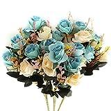 Flores Artificiales,Flores Artificiales de para Exteriores Flores de Seda Rosa Falsa decoración 6 Rama 12 Cabezas decoración para Mesa Home Office 3 Paquetes (Azul)
