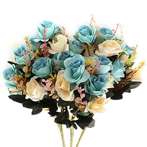 Fiori Artificiali,bouquet fiori artificiali mazzo fiori finti seta Rose Artificiali Blu 6 Ramo 12 Teste Bouquet Decorativo per balcone interno (Blu)