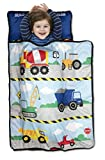 Funhouse Construction Area Trucks Kids Nap Mat Set – Includes Pillow and Fleece Blanket – Great for Girls Napping During Daycare, Preschool, or Kindergarten - Fits Toddlers and Young Children