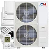 Three 3 Zone 12,000 18,000 30,000 BTU Ductless Mini Split AC/Heating System, Pre-Charged, Heat Pump, 21.5 SEER, Including 25ft Copper Line Set and Communication Wires