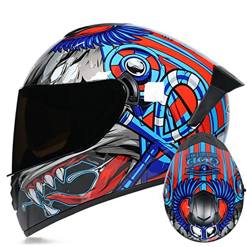 Adult Motocross Helmet Double Lens Motocross Racing Safety Protection Caps Fashion...
