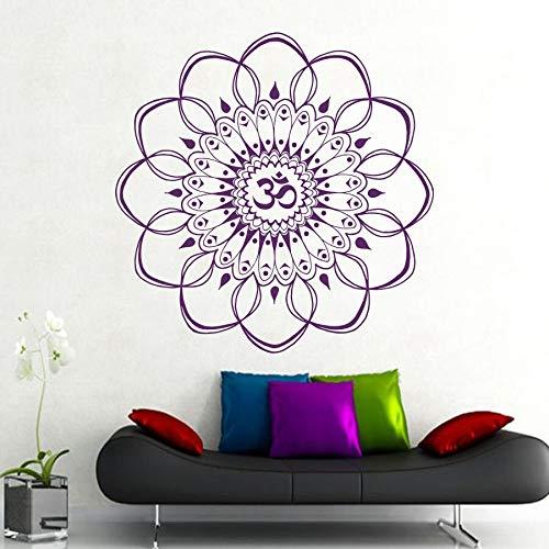 Calcomanía India Buda Mandala Adorno de flores Ganesha OM Namaste Yoga Vinilo Etiqueta de la pared Dormitorio Sala de estar Estudio Decoración para el hogar Arte mural cartel