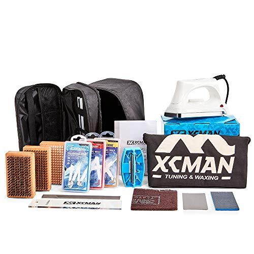 XCMAN Complete Ski Snowboard Tuning and Waxing Kit with Waxing Iron,Ski Training Wax,Edge Tuner,Ptex,Ski Waxing Brush,Waxing Scraper
