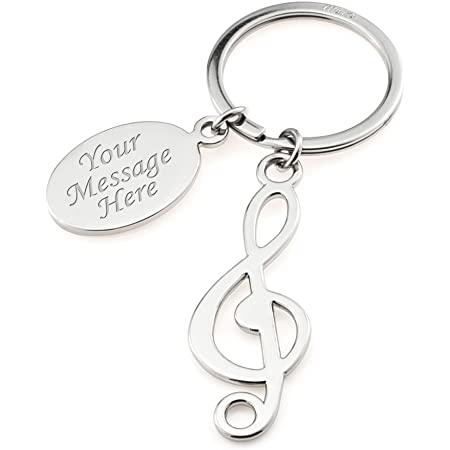 Personalised Treble Clef Music Note Keyring in Presentation Box Engraved For Musician/Music Lover - Engraved - Enter Your Custom Text