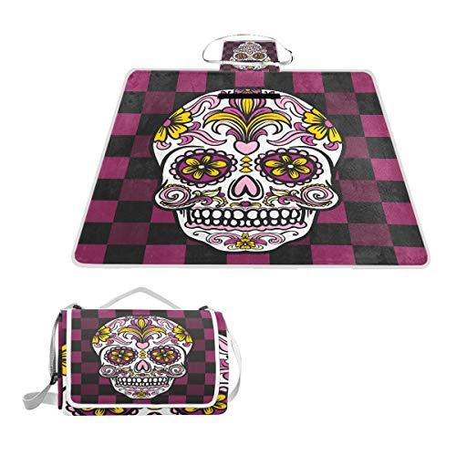 LZXO Jumbo-Picknickdecke, faltbar, mexikanischer Totenkopf, Blumen, geometrisch, groß, 145 x 150 cm, wasserdicht, handliche Matte, kompakt,, Camping, Wandern.