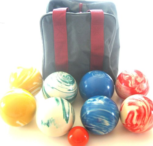 BuyBocceBalls Premium Quality EPCO Tournament Marbleized Bocce Set - 107mm. Bag Included. [...