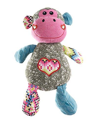 Hondenspeelgoed, met kleurrijke en zachte materiaalmix in patchwork-stijl, om te knuffelen en te spelen, Barry Monkey, 30 cm, aap