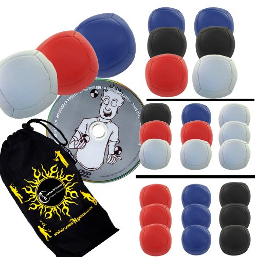 Thud Sport PRO 6 Jonglierbälle 3er Set - Profi Beanbag Bälle (PU) mit Lernen Jonglieren DVD + Reisetasche! Zirkus Bälle zum Jonglieren Für Anfänger und Profis! (Blau / Rot / Weiß)