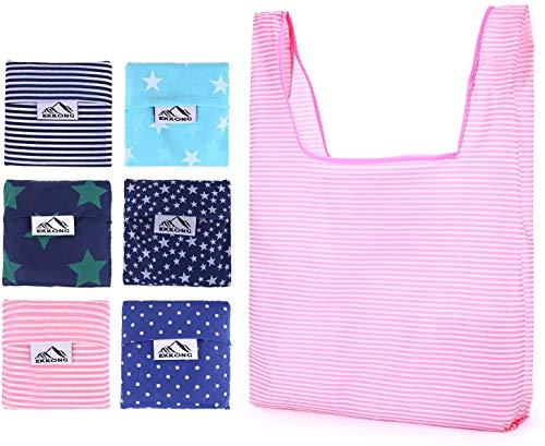 EKKONG Faltbare Wiederverwendbare Einkaufstüten, Einkaufstaschen (6 Stück), leichte große Kapazität tragbare Einkaufstasche Umweltfreundlich, langlebig, wasserdicht und waschmaschinenfest
