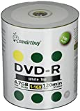 Smart Buy 100 Pack DVD-R 4.7gb 16x White Top (Non-Printable) Blank Data Video Movie Record Disc, 100 Disc 100pk
