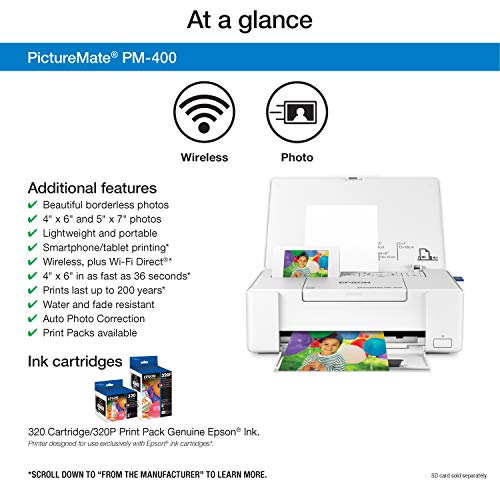 Epson PM-400 impresora de foto Inyección de tinta 5760 x 1400 DPI 5' x 7' (13x18 cm) Wifi - Impresora fotográfica (Inyección de tinta, 5760 x 1400 DPI, Negro, Cian, Magenta, Amarillo, 4 Colores, 5' x 7' (13x18 cm), 3.5x5,4x6,5x7)