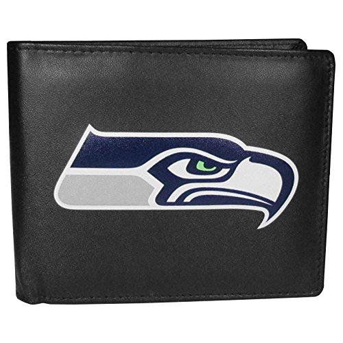 NFL Siskiyou Sports Mens Seattle Seahawks Bi-fold Wallet Large Logo One Size Black