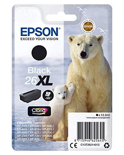 Epson Original 26XL Tinte Eisbär (XP-600 XP-700 XP-800 XP-510 XP-710 XP-615 XP-610 XP-810 XP-720 XP-820 XP-520 XP-620 XP-625, Amazon Dash Replenishment-fähig) schwarz