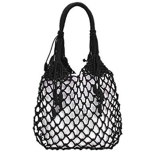 WUJIANCHAO Bolso de borlas para Mujer 2020 Nuevo Bolso Tejido de Malla Hueca Mori Straw Bag Holiday Cotton Rope Net Beach Bag con Forro