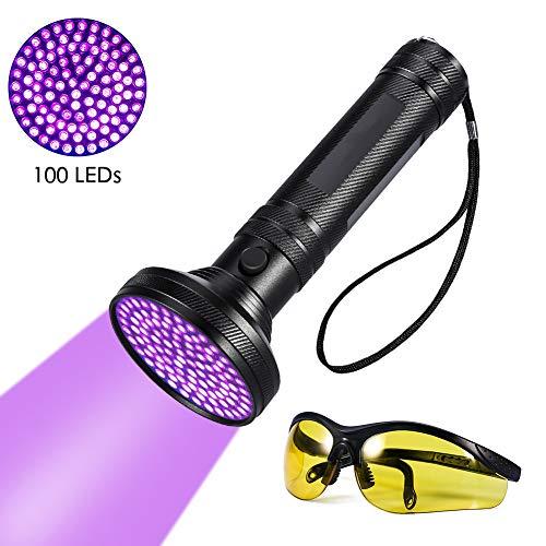 UV-Taschenlampe - Pet Stain Urin Detektor Bright 100 LEDs Blacklight Torch, mit UV-Sonnenbrille