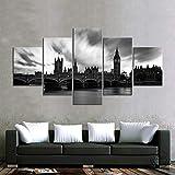 YTFOPLK 5 Piezas de Lienzo Pintura Arte decoración de la Pared Monocromo Paisaje cívico London Tower Bridge Sala de Estar Impermeable HD con marco-150CM * 80CM