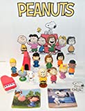 Peanuts Classic Characters Deluxe Figure Set of 15 Toys with 12 Figures, 2 Stickers Featuring Woodstock, Snoopy, Charlie Brown, Dog House and More!