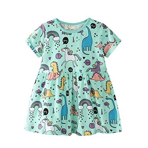 LOKKSI Vestidos de verano para nias y bebs, vestido de dibujos animados de algodn con animales estampados encantadores unicornio nias vestido ropa 2-7T