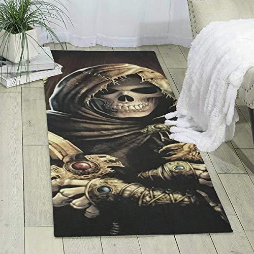 Teppich Läufer 60 x 180 cm Kapuze Totenkopf mit Drachenschwert Modern Teppich Matte für Schlafzimmer Boden Sofa Wohnzimmer