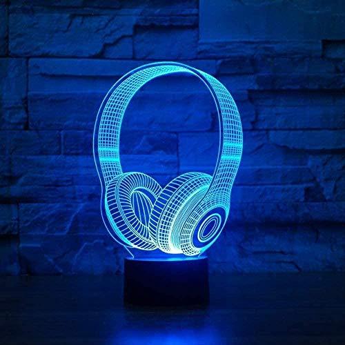 Night Light 3D Stereo Vision Earphone Recording Studio Music Monitor Earphone U Earphone Desk lamp Sleep Lighting Best Creative Night Light