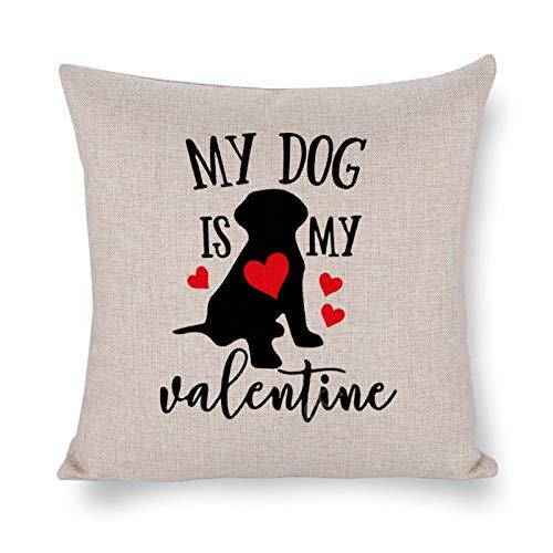 Yilooom Fundas de almohada cuadradas de lino de algodón de 30,5 x 30,5 cm, fundas de cojín, cama, sofá, sofá, coche, decoración del hogar, feliz día de San Valentín, mi perro es mi San Valentín