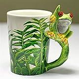 ZZLLFF 300ml de la Rana Creativa de Las Tazas de cerámica de la Taza de la Historieta Dibujado a Mano de la Taza de café de la Taza de café de la Taza de café (Capacity : 300ML, Color : Frog)
