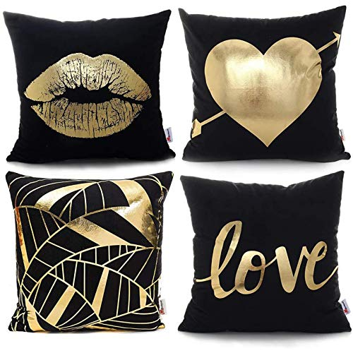 Monkeysell Pack of 4 Black and Gold Throw Pillow Lips Bronzing Flannelette Home Pillowcases Throw Pillow Cover Love Black Gold Lips Pattern Design Rock Punk Neoclassical Style 18 inches (Black)