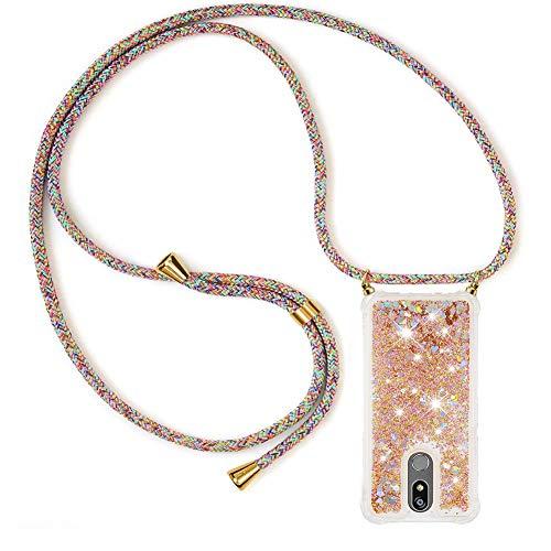 Ptny Handykette kompatibel mit LG K40/ K12 Plus Smartphone Necklace Hülle mit Band, Schnur mit Hülle zum umhängen Stylische Kordel Kette, Kristallklare Handyhülle zum Umhängen in Regenbogenfarbe