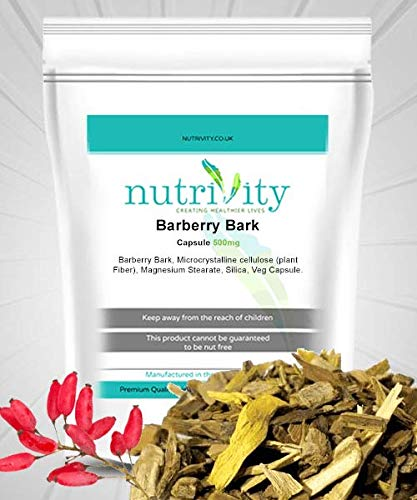 Barberry Bark 500mg Capsules Natural Body Cleanser TCM Supplement by Nutrivity (60)