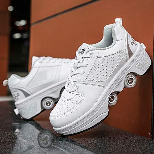 JY&WIN Patines de Ruedas,Rueda de deformación LED de Doble hilera 2 en 1 Polea extraíble Patines Luminosos Deformación de Patinaje Zapatos para Caminar automáticos Patín de Ruedas Invisible,platead