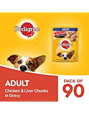 Pedigree Adult Wet Dog Food, Chicken & Liver Chunks in Gravy, 70 g (Pack of 90)