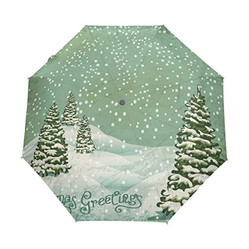 Regenschirm, Weihnachtsbaum, faltbar, Winddicht, Regen, automatischer Öffnungsmechanismus, UV-Schutz für Damen und Herren