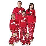 Pyjama Damen Nachthemd Schlafanzug Familien-Matching-Weihnachtspyjama-Set Warm Adult Girls Boy Mommy Print Nachtwäsche Nightwear Mutter-Tochter-Kleidung Outfit Moms Red