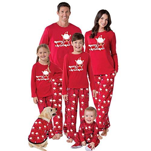 Pyjama Damen Nachthemd Schlafanzug Familien Passende Weihnachtspyjamas Set Warm Adult Girls Boy Mommy Print Nachtwäsche Nightwear Mutter Tochter Kleidung Outfit Momxl Red