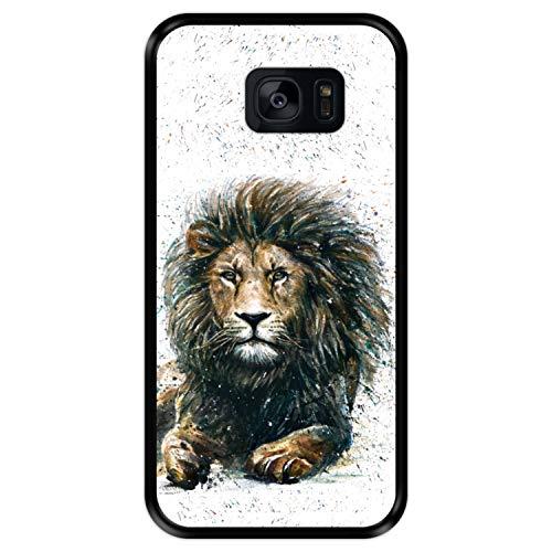 Hapdey Custodia per [ Samsung Galaxy S7 Edge ] Disegni [ Il Leone, re della Giungla ] Cover Guscio in Silicone Flessibile Nero TPU
