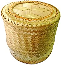 "Arinjit Thai Traditional Handmade ''Kra-Tip'' Sticky Rice Serving Basket Medium Size 5''X4"""