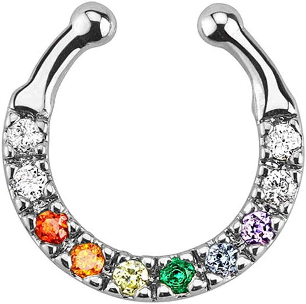 Urban Body Jewelry low-pricing Ten Cheap bargain Rainbow CZ Gem Septum Ring Clicker Fake