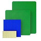 GeZe toys&more - Juego de 4 placas de construcción compatibles con Lego Duplo, Mega Bloks, entre otros, incluye placa XXL grande de 50 x 38 cm y placa estándar de 38 x 38 cm y 2 placas adicionales.