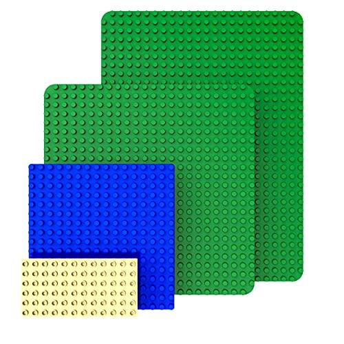 GeZe toys&more. Set aus 4 Bauplatten kompatibel mit Bausteinen von Lego Duplo, Mega Bloks u.a. Inkl. großer XXL Platte 50x38cm und Standard Platte 38x38cm sowie 2 weiteren Platten