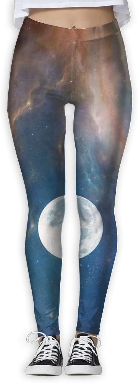 EWDVqqq Women Yoga Pant Moon Astronaut Nature Clouds Space High Waist Fitness Workout Leggings Pants