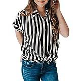 QingJiu Damen Blaouse Kurzärmeliges Gestreiftes Krawatten T-Shirt Für Oberteile mit Knöpfen Top