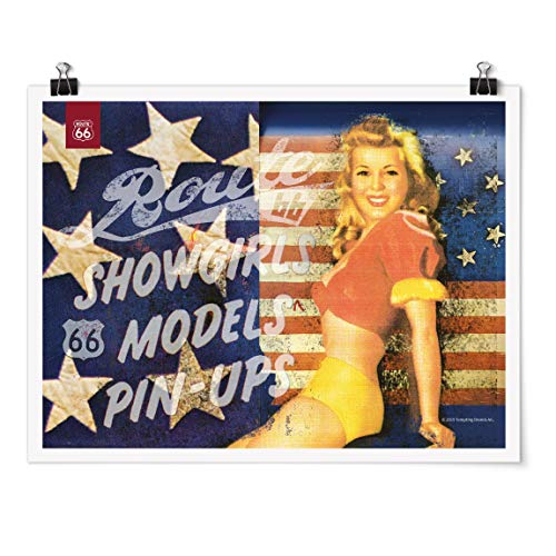 Bilderwelten Poster - Route 66 - Pin-Up Show Girl - Apaisado 3:4 Brillante 30 x 40cm