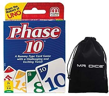 Phase 10 Card Game Bundle with Mr Dice Drawstring Bag