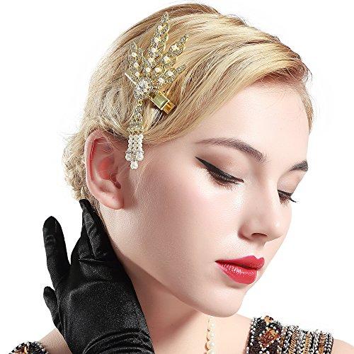 Coucoland 1920s Hoofdband haarclips blad-patroon dames jaren 20 stijl elegante haarspeld Gatsby kostuum flapper Charleston haaraccessoires