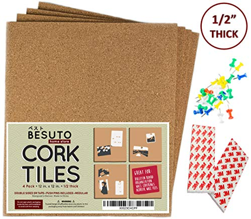 """Premium Square Cork Board Tiles by BESUTO 12""""X 12"""" – 1/2"""" Thick Cork Board – Bulletin Board – Extra Strength 3M Adhesive Squares Included – 4 Pack Frameless Cork Tiles for Wall – Bonus Push Pins"""