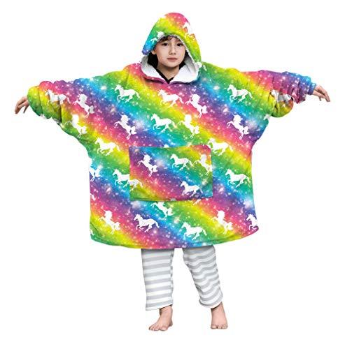 Kids4ever 4-14 Jahre Übergroße Sherpa Hoodie Decke Jungen Mädchen Regenbogen Einhorn Plüsch Druck Kapuze Sweatshirt Weiche Warme Blanket Kapuzenpullover Pyjama für TV Game Playing